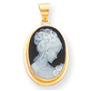 Woman Porcelain Black Cameo Pendant
